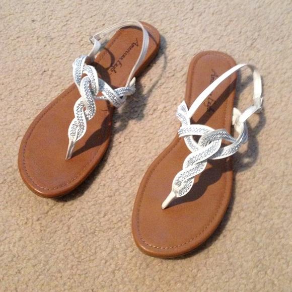 White Braided Rhinestone Sandals   Poshmark